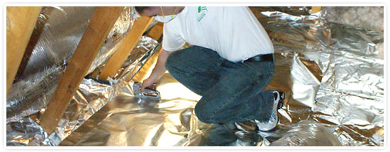 Green Energy Barrier Attic Insulation Installation